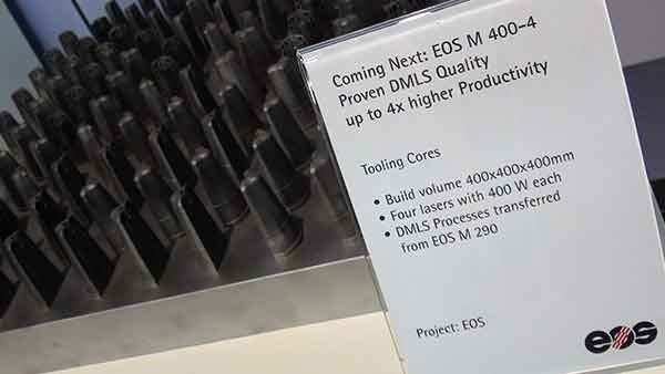The EOS M 400 is the company's largest format printer. It will get a refresh in 2016. The device will have four 400-W lasers for higher throughput.