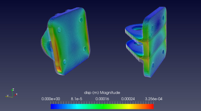 Displacement simulation of a 3D-printed part conducted using exaSIM. (Image courtesy of 3DSIM.)