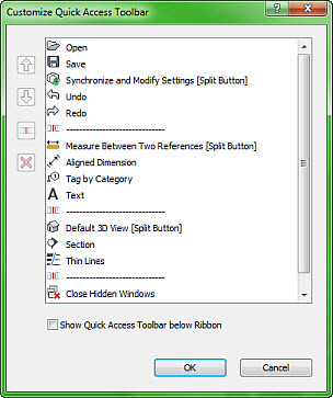 Figure 9. The Customize Quick Access Toolbar dialog box.