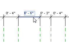 Figure 16. Pressing the Tab key while hovering on a dimension segment highlights it in blue.