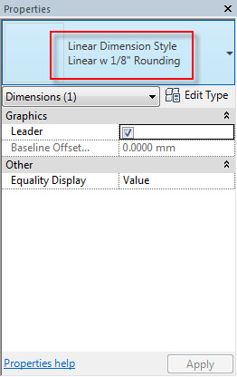 Figure 1. New dimension styles are added to the Properties palette.