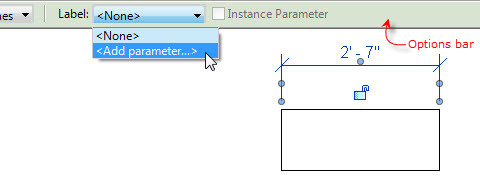 Figure 5. The <Add parameter…> option in the Options bar.