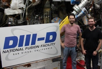 Summer intern Ryan Chaban, right, with his mentor Dr. David Pace spent the summer working on fusion technology at General Atomics. (Image courtesy of General Atomics.)