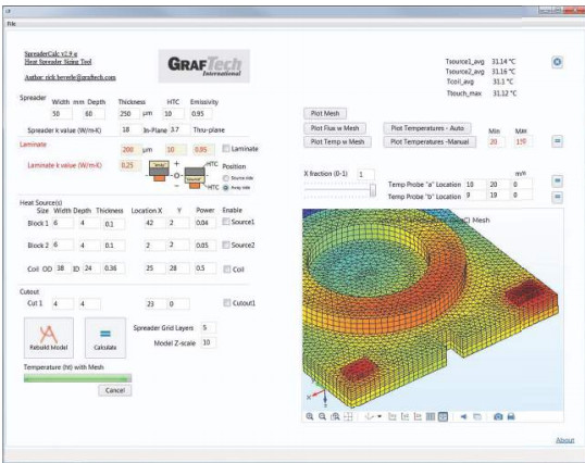 A sample of the simulation software for thermal management applications. Capabilities include testing various materials as well as their shape. (Image courtesy of GrafTech International.)