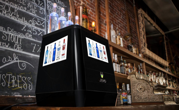 The Jevo mixes, chills and dispenses 20 gelatin shots available in eight flavors at launch. (Image courtesy of Food and Beverage Innovations.)