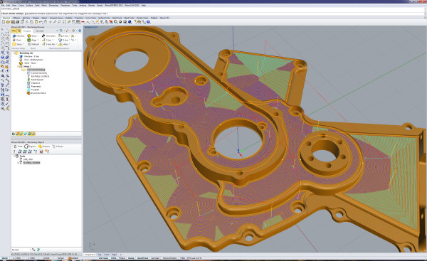 VisualMILL is a module for milling molds, dies and tooling. You can also perform wood working, rapid prototyping and general machining. RhinoCAM includes 2.5-, 3-, 4-and 5-axis machining functionality. (Image courtesy of MecSoft.)