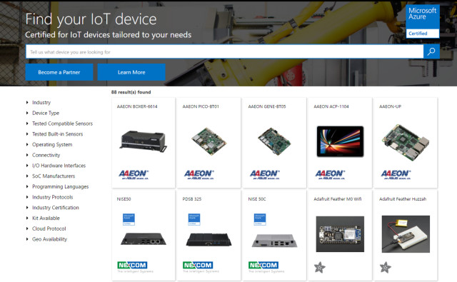 The Azure Certified for IoT device catalog aims to help developers easily find the right IoT devices. (Image courtesy of Microsoft.)