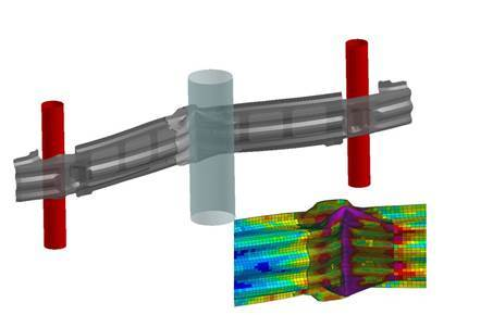 Simulation of a bumper impact shows off remeshing capabilities of the Virtual Performance Solution. (Image courtesy of ESI Group.)