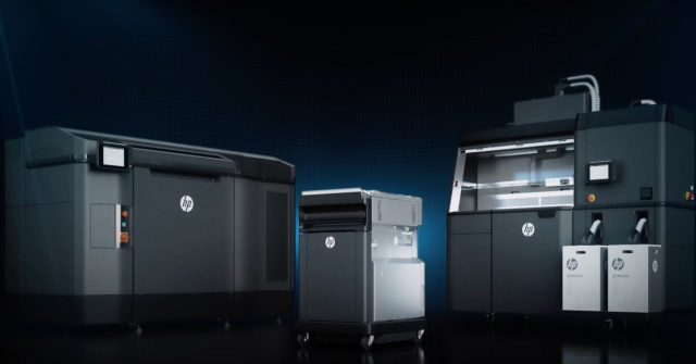 To achieve part quality at speed, HP invented a multi-agent print process. In the time it takes slower point processes, like material extrusion and laser sintering, to build 1,000 parts, HP's Multi Jet Fusion technology would have created several thousand parts. (Image courtesy of HP/YouTube.)