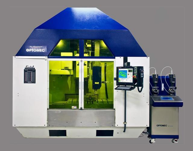 Optomec's first hybrid additive and subtractive manufacturing system, based on a Fadal vertical mill. (Image courtesy of Optomec.)