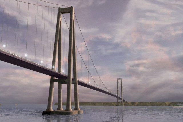 "In an artist's depiction, the Chacao Channel bridge connects the island of Chiloe and mainland Chile. If finished, it will be the longest suspension bridge in South America. Its daring design won it the ""Bridge"" category at Bentley's Year in Infrastructure 2016."