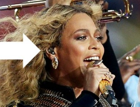 Beyoncé at the 2016 Super Bowl with Stephen's invention in her ear—an in-ear monitor.(Picture courtesy of Asius Technologies)