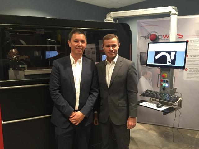 From left to right: Philippe Laude, CEO of Prodways, and Rapahel Gorgé, CEO of Group Gorgé. (Image courtesy of the author.)