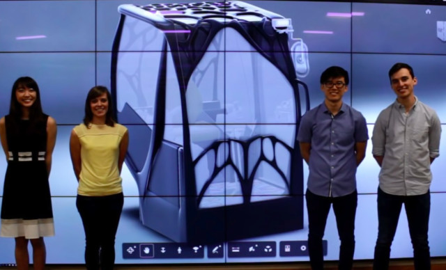 Members of the University of Illinois at Urbana-Champaign team in front of their winning excavator cab design. (Image courtesy of Andy Peterman.)