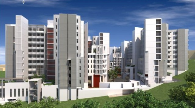 An artist's rendering of residential halls at NTU using PPVC. (Image courtesy ofthe NTU newsletter.)