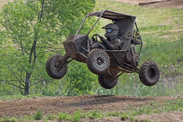 "Figure 1.The Tennessee Tech Baja SAE vehicle, with driver Logan Atkins, gets some air at the 2016 Rochester Baja SAE competition. ""You've got to know when to go fast and when to take care of the car,"" said team mentor Dale Wilson. (Image courtesy of Tennessee Tech.)"