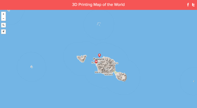 There are currently two 3D printing hubs on the island of Tahiti. (Image courtesy of 3D Hubs.)