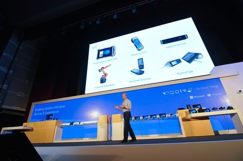 Microsoft's Nick Parkeron stage at COMPUTEX in a keynote to discuss the company's thoughts on the Internet of Things. (Image courtesy of COMPUTEX TAIPEI.)