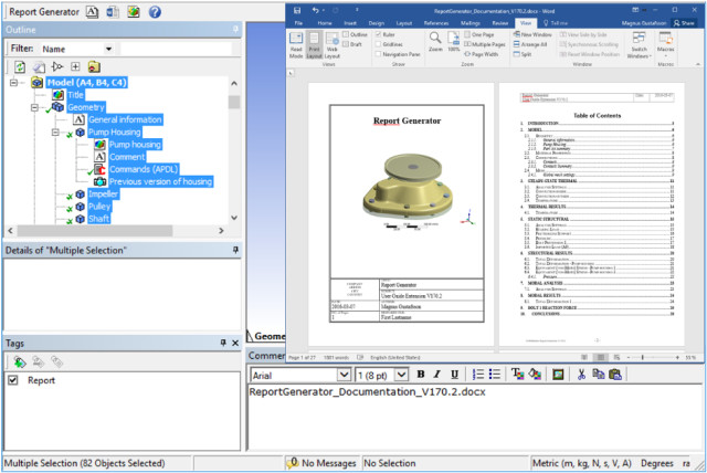 The Report Generator from EDRMedeso is one of 106 apps available on the ANSYS App Store. (Image courtesy of ANSYS.)