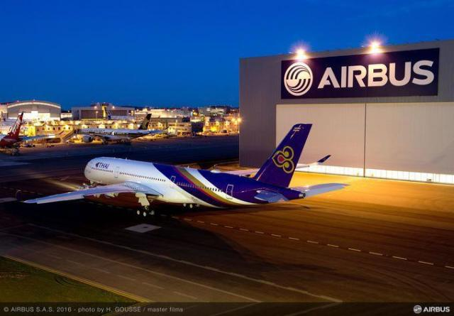 Airbus A350 XWB ordered for Thai Airways International is comprised of 52 percent CFRP parts. (Image courtesy of Airbus.)
