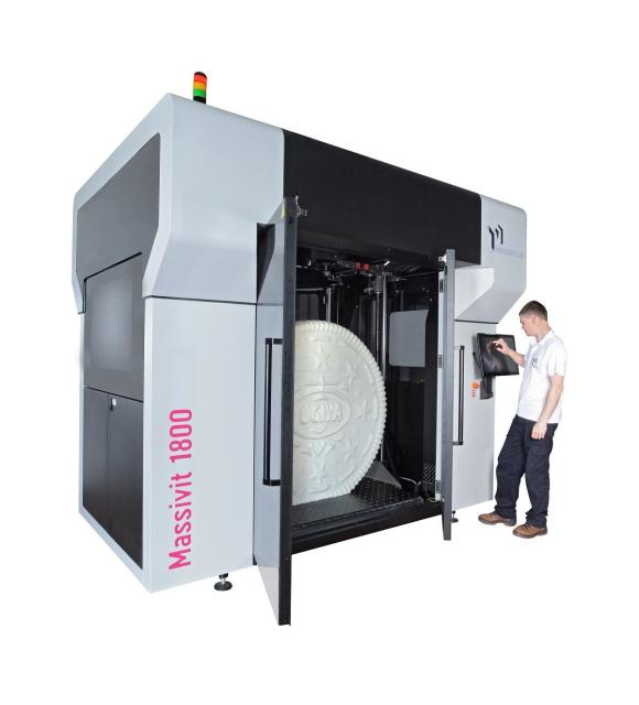 The Massivit 1800 uses proprietary GDP technology to 3D print large objects very quickly. (Image courtesy of Massivit 3D.)