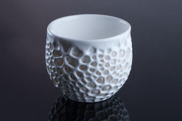 fc1286b16c32 A finished porcelain cup 3D printed by Nervous System on the Formlabs Form  2 3D printer