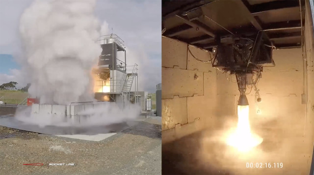 The Rutherford Engine from Rocket Lab undergoing hot fire testing for flight qualification. (Image courtesy of Rocket Lab.)