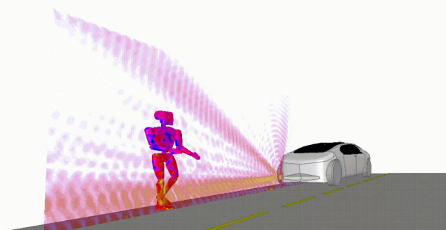 Virtual simulation of an autonomous vehicle radar used for pedestrian detection, using ANSYS HFSS. (Image courtesy of ANSYS.)