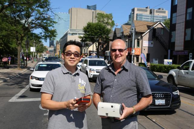 Senior Research Associate Cheol-Heon Jeong and Professor Greg Evans measured emissions from GDI engines and evaluated climate tradeoffs of the more efficient engine type. (Image courtesy of the American Association for the Advancement of Science.)