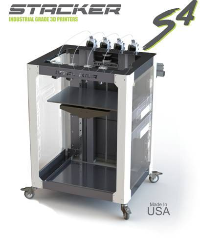 The mobile Stacker S4 3D printer features a large build volume. (Image courtesy of Stacker.)
