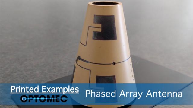 A phasedarray antenna 3D printed by the Aerosol Jet 5X system. (Image courtesy of Optomec/YouTube.)