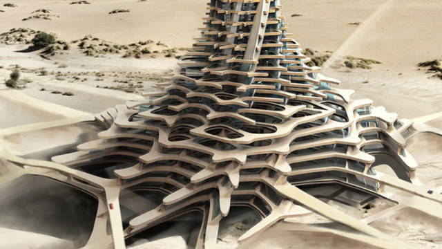 A concept for a 3D-printed building in Dubai. (Image courtesy of Sheik Mohammed. ae.)