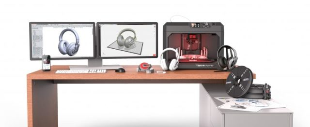 MakerBot's professional 3D printing ecosystem featuring the Replicator+ 3D printer, MakerBot Print and Tough PLA. (Image courtesy of MakerBot.)