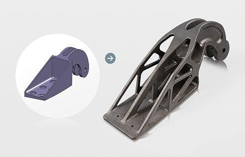 On the left, a conventional bracket design. On the right, a bracket optimized for 3D printing. (Image courtesy of Airbus Group Innovations.)