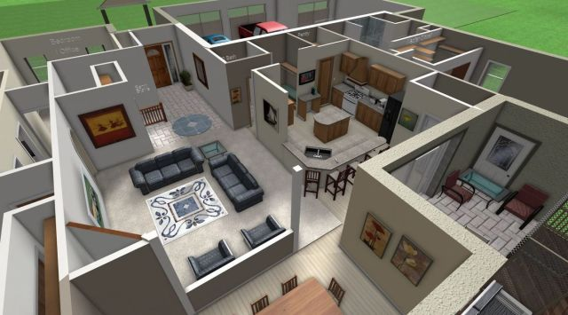 Rendering of an interior of a home design. (Image courtesy of Jack Zimmer, Zimmer Design.)
