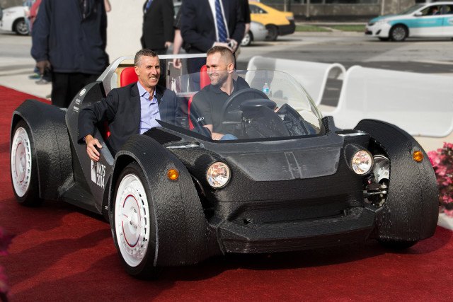 The Strati concept car from Local Motors, 3D-printed at IMTS 2014 on the Cincinnati BAAM. (Image courtesy of Volim Photo.)