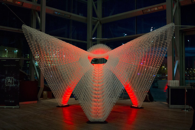 The Daedalus Pavilion was assembled from 48 3D-printed plastic pieces. (Image courtesy of Ai Build.)