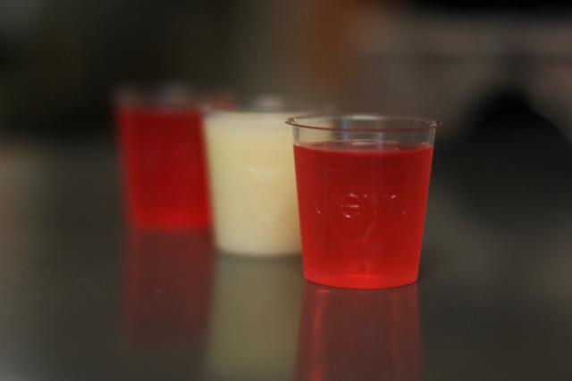 Gelatin shots made by Jevo. Flavors from front to back: strawberry lemonade, birthday cake, and watermelon that tastes like a Jolly Rancher candy, but with a party twist.