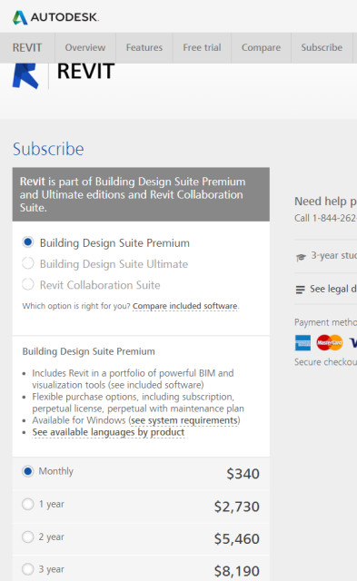 Figure 3. Revit subscription options. (Image courtesy of the author.)