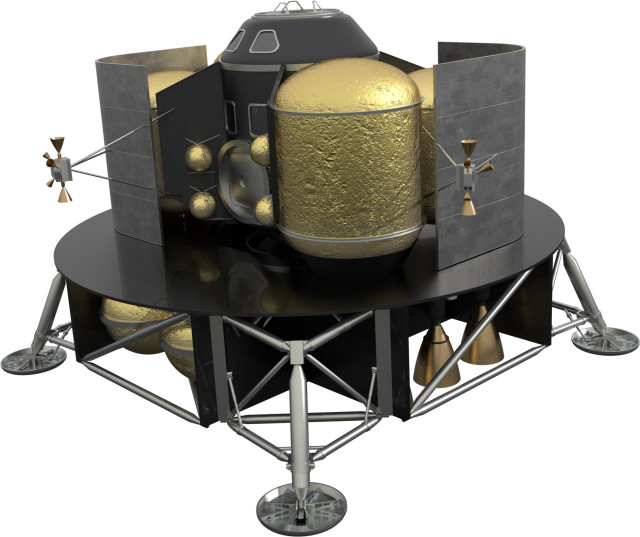 A Mars lander concept in which tanks filled with liquid methane and liquid oxygen deliver fuel to the lander. (Image courtesy of NASA/MSFC.)