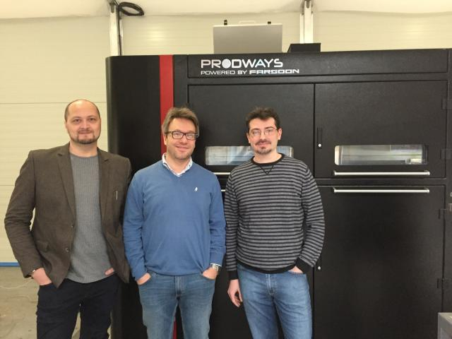 The team from Norge, working on SLS R&D for Prodways. (Image courtesy of the author.)