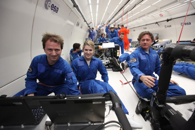From left to right, Carter, Field and Amaldi conducing tests aboard Novespace's A300 ZERO-G aircraft. (Image courtesy of Novespace.)