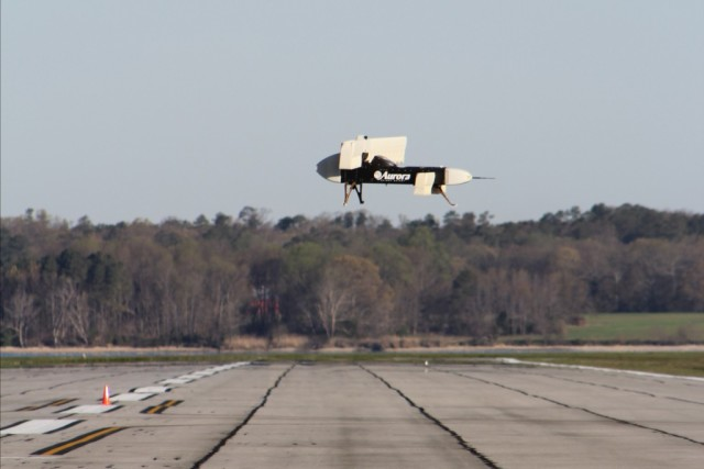 The scale model of the LightningStrike aircraft successfully demonstrated the ability to perform a vertical takeoff and landing, as well as hovering. (Image courtesy of Aurora Flight Sciences.)