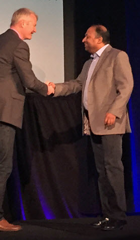 Figure 1- Sean Flaherty introduces new CEO Dr. Biplab Sarkar at the Vectorworks Design Summit 2016 in Chicago