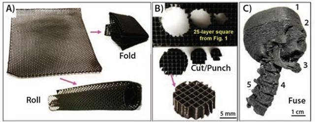 With Shah's platform, it is possible to create flexible graphene structures (A), to cut smaller graphene objects from larger ones (B), and create highly detailed objects or fuse multiple parts together (C). (Image courtesy of the Shah TEAM Lab and Northwestern University.)