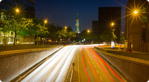 Smart streetlights in the city of Hamburg, Germany, use sensors to turn off if there are no cars passing by, saving both energy and money. (Image courtesy of Cisco.)