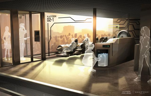 Rendering of the HyperPoland concept for a Hyperloop station. (Image courtesy of HyperPoland.)