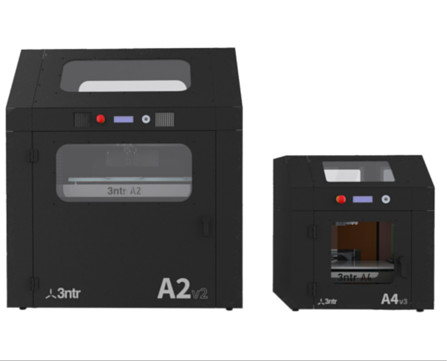 The A2v2 and A4v3 3D printers from 3ntr, capable of high-temperature extrusion for a wide variety of materials. (Image courtesy of Plural AM.)