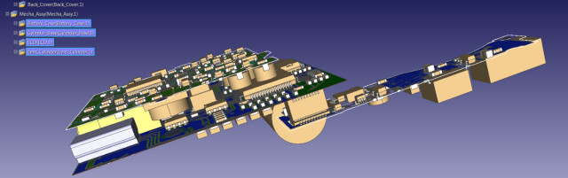 Two PCBs are placed in close proximity in a digital camera body.