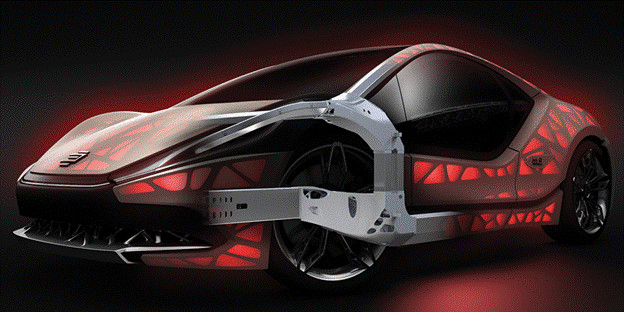 EDAG and its partners believe that the NextGenspaceframe can be custommade ondemand for each individual vehicle. (Image courtesy of Concept Laser.)